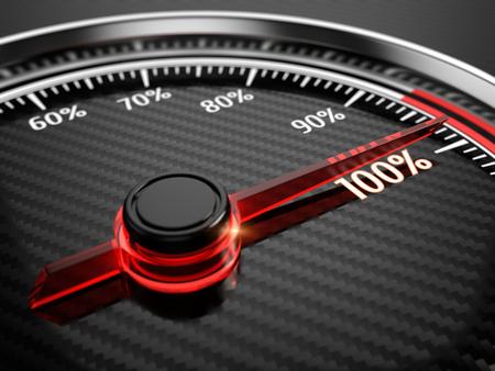100 percent on car speedometer
