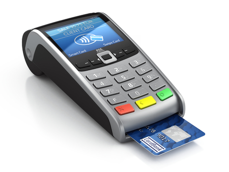 POS Terminal with credit card isolated on a white background Stockfoto
