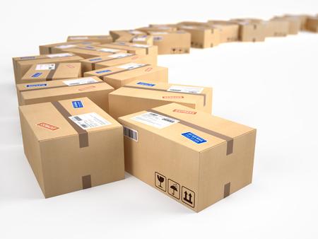 cajas de carton: las parcelas de paquete de cartón cajas - concepto de envío