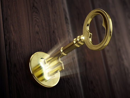 golden key: Golden key moving in keyhole