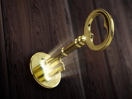 Gouden sleutel bewegen in sleutelgat