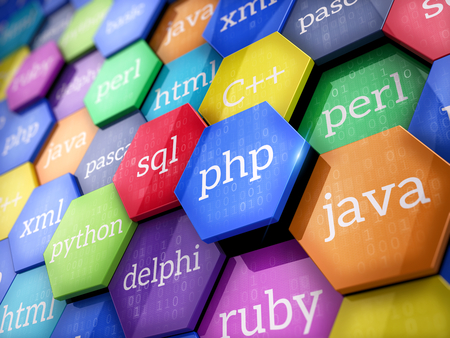 Machine code languages on colorful elements - Programming concept