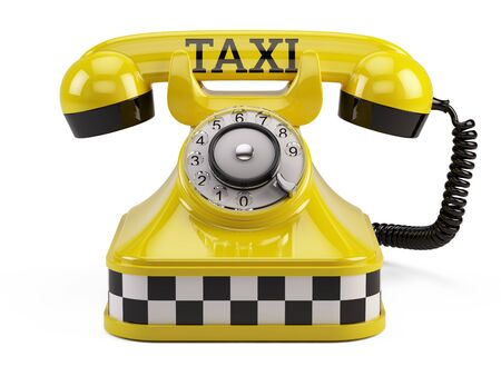 Call a taxi service concept - Yellow retro taxi phone isolated on white Stock Photo