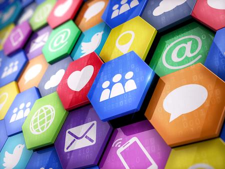 icono ordenador: tecnologías de los medios concepto - Las aplicaciones móviles en elementos coloridos