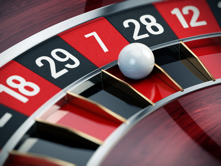 gambling counter: Casino roulette close up - 3d render Stock Photo