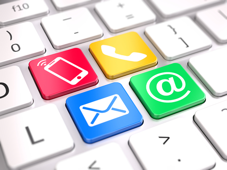 Site nous contacter concept - boutons de contact sur le clavier de l'ordinateur