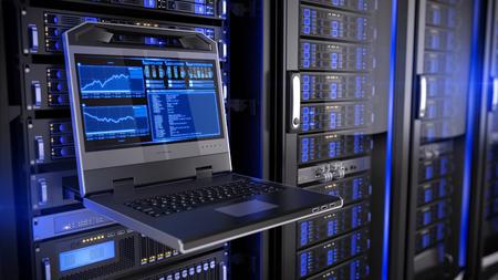Rackmount LED-console in serverruimte datacenter Stockfoto