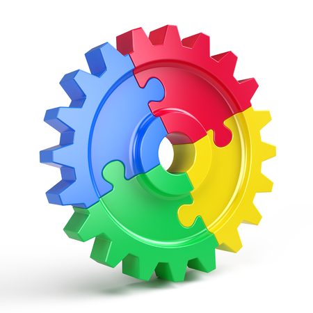 Gear puzzle - business teamwork and partnership concept. 3d rendering Banque d'images - 105063248