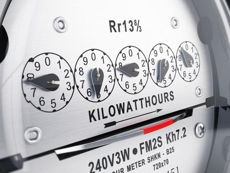 Kilowattuur elektrische meter, voeding meter. 3D-rendering