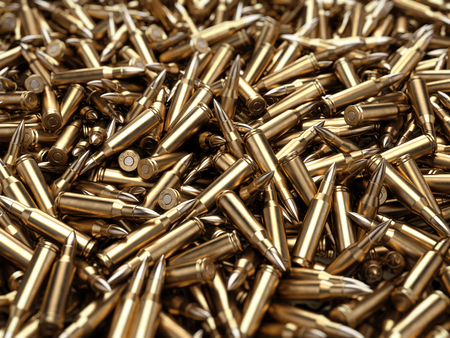 Bullets pile background - 3d render Banque d'images - 105063180