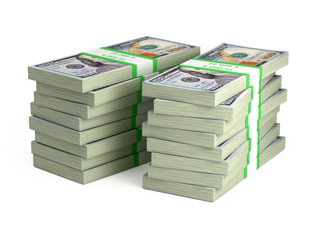 Two Stacks of bundles of 100 US dollars isolated on white - 3d render