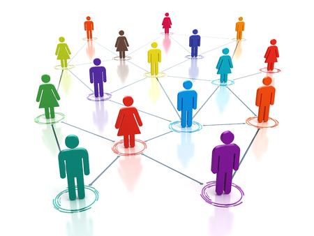 Social media network - connecting people concept - 3d render Foto de archivo
