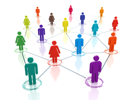 network people: Social media network - connecting people concept - 3d render Stock Photo