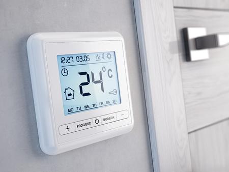 Nowoczesny cyfrowy programowalny termostat - 3d render
