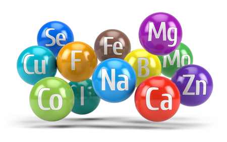 Essential chemical minerals and microelements - healthy diet concept - 3d render Standard-Bild