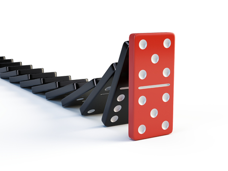 Business, leadership and teamwork concept - Red domino stops falling other dominoes. 3d render Stock Photo
