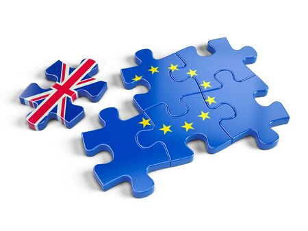 Euro Puzzle and one Puzzle Piece With Great Britain Flag. 3d render 版權商用圖片