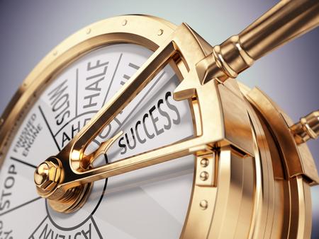 O vintage envia o telégrafo da sala de motor na marca do sucesso - conceito do negócio do sucesso. 3d rendem Foto de archivo