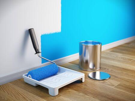 Concept de rénovation - Brosse à peinture, boîte à peinture. Rendu 3D