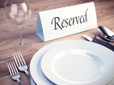 reserved seat: Reserved sign on a restaurant table - 3d render