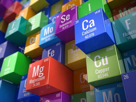 Essentiële chemische mineralen en microelementen - 3D render Stockfoto