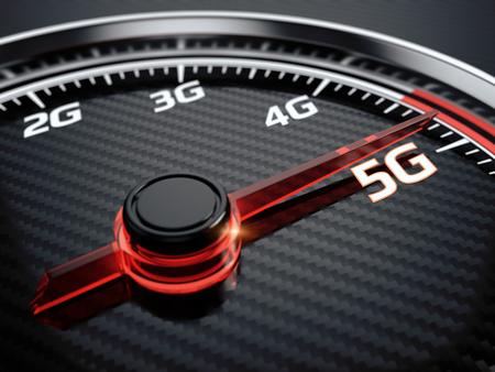 Wireless network speed. 5G high speed internet concept. 3d render 写真素材