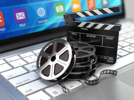 Laptop, Film and Clapper board - video icon. 3d rendering 스톡 콘텐츠