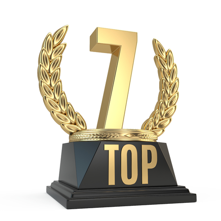 Top 7 seven award cup symbol isolated on white background. 3d render Stock Photo