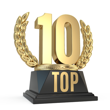 Top 10 ten award cup symbol isolated on white background. 3d render