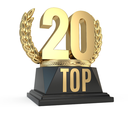 incomparable: Top 20 twenty award cup symbol isolated on white background. 3d render