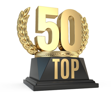 Top 50 fifty award cup symbol isolated on white background. 3d render Stock Photo