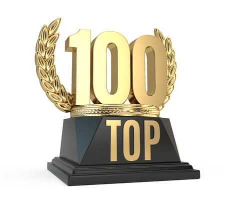 Top 100 hundred award cup symbol isolated on white background. 3d render Imagens - 72158551