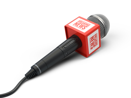 Breaking news microphone isolated on white. 3d render Stock Photo