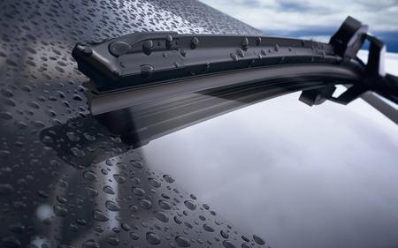 Auto voorruit met regen druppels en frameloze wisser close-up. 3d render Stockfoto - 70870104