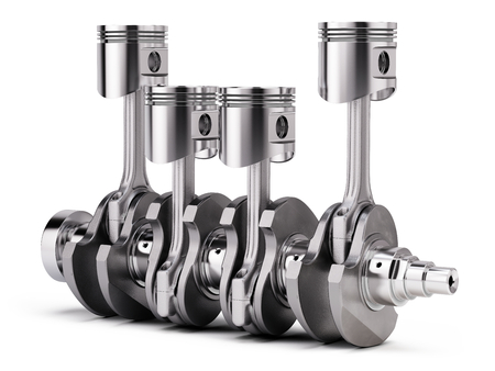 V4 engine pistons and crankshaft isolated on white background. 3d render