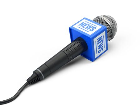 news microphone isolated on white. 3d render