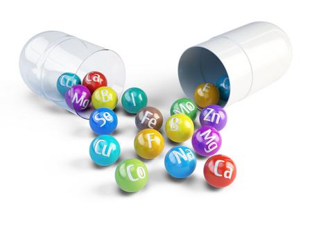 Essentiële chemische mineralen en micro-elementen - gezonde voeding concept - 3d render Stockfoto