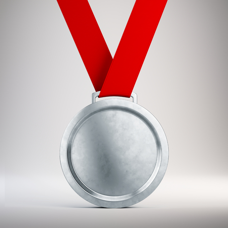 Second place Silver medal with red ribbon on gray background - 3d illustration Stock Photo