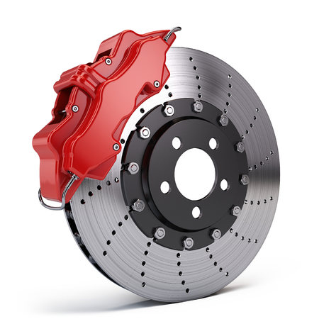 Brake Disc with Red Sport Racing Calliper isolated on white. 3d rendering 写真素材
