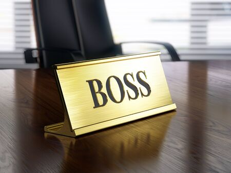 Boss nameplate on wooden table. 3d illustration