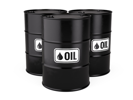 listing: 3d illustration of Classic Black Metal Oil Barrels Drum isolated on white background