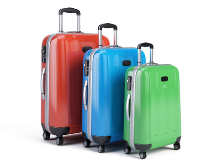 travel icon: 3d icon of three travel luggage bags isolated on white. 3d render