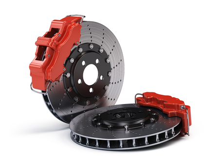 Pair of Brake Discs with Red Sport Racing Callipers isolated on white. 3d rendering