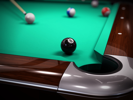 eighth: American Pool, Snooker billiard game - strike on the black eighth ball. 3d illustration Stock Photo