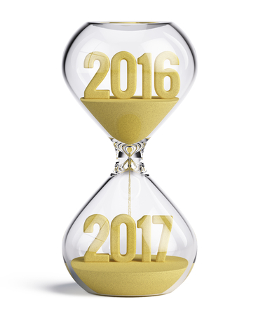 Hourglass with 2016 and 2017 sand shapes - New Year 2017 concept. 3d illustration Stock Photo
