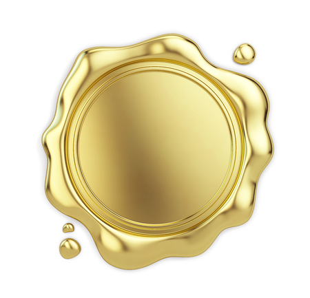 Lege golden lakzegel op een witte achtergrond. 3d illustratie Stockfoto