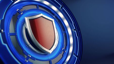 Protection and security concept: shield on futuristic technology background. 3d illustration Stock Photo