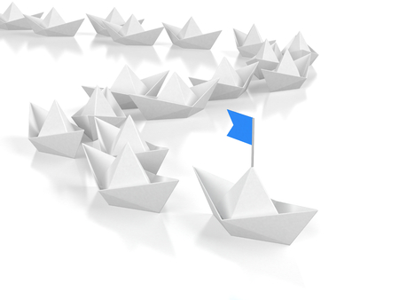 Leadership concept - Leading paper ship with blue flad. 3d illustration Stock Photo