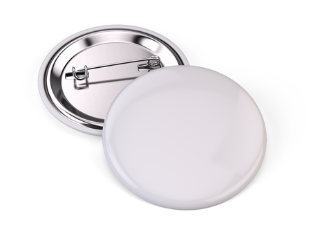button: Blank white pin badge brooch isolated on white - 3d render Stock Photo