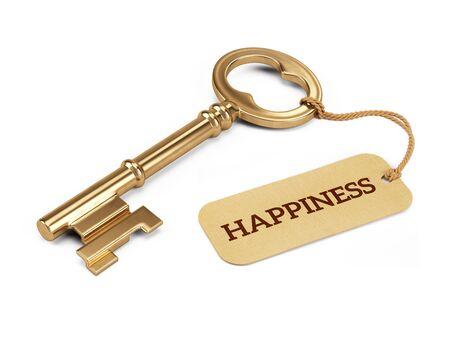 alegria: Clave del concepto de felicidad - Llave de oro con etiqueta de la felicidad aislado en blanco. 3d ilustración Foto de archivo